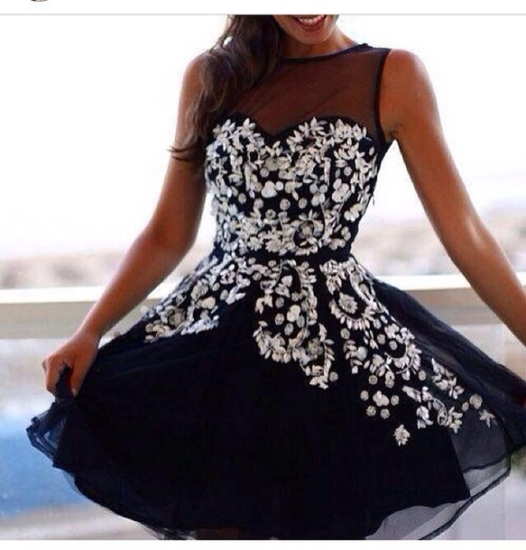 dress black white sparkle beaded skirt design party fancy dimond black prom dress prom dress dark blue dress black dress white dress lace dress little black dress homecoming dress gorgeous hollow out dress mesh embroidered floral black short dress