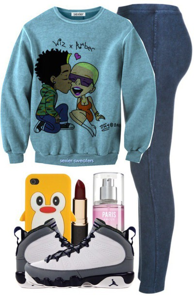 sweater sweatshirt comics wiz khalifa amber rose shoes jeans