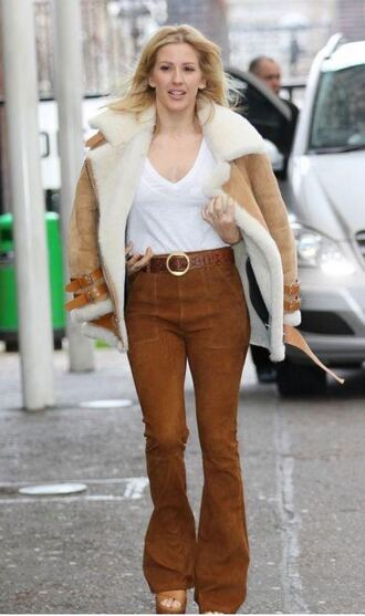 pants suede ellie goulding jacket fur top suede pants