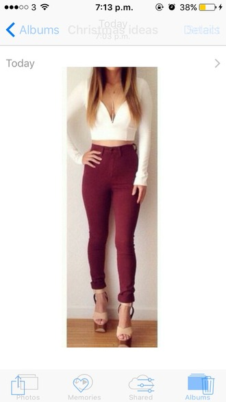 jeans white top burgundy high waisted jeans