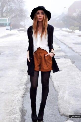 lookbook hat fedora cardigan rust winter outfits