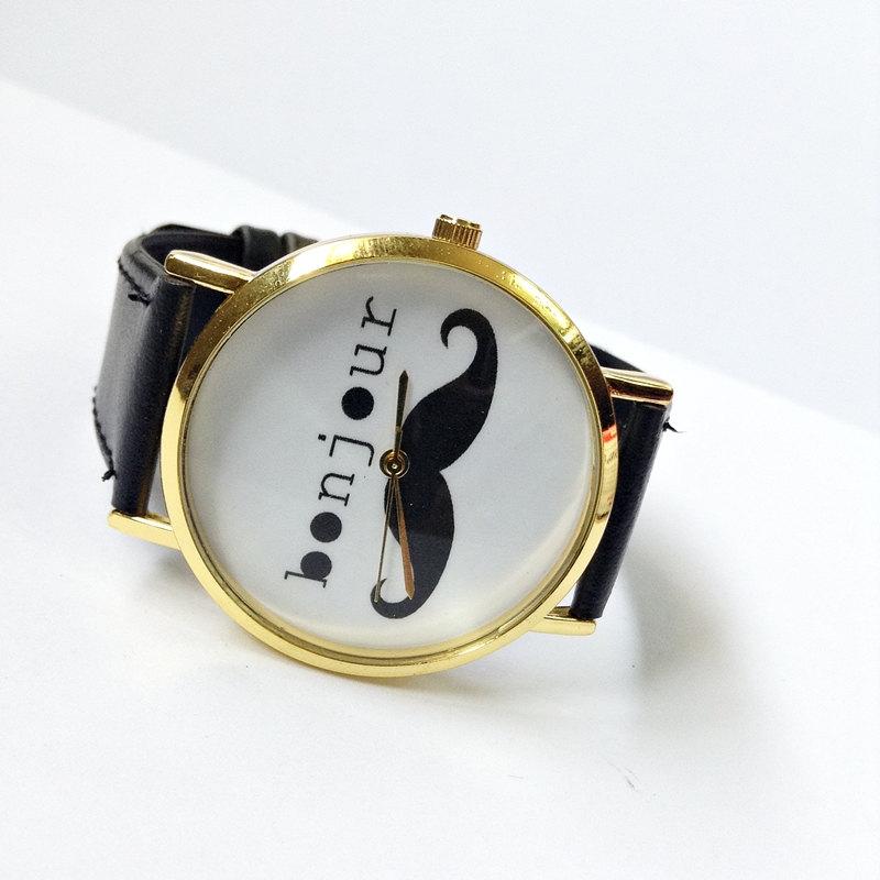 Bonjour moustache watch, vintage style leather watch, women watches, unisex watch, boyfriend watch black
