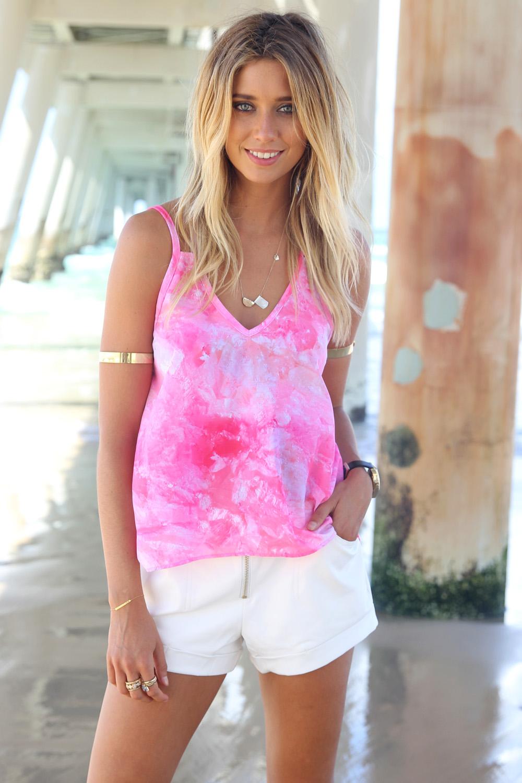 Pink Tank Top - Pink Tye Dye Tank Top | UsTrendy