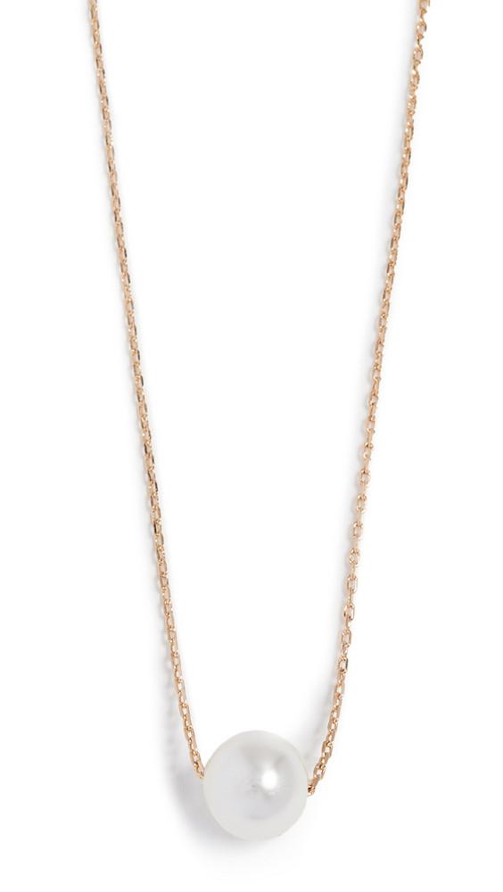 Theia Jewelry Petite Swarovski Imitation Pearl Necklace in gold / yellow