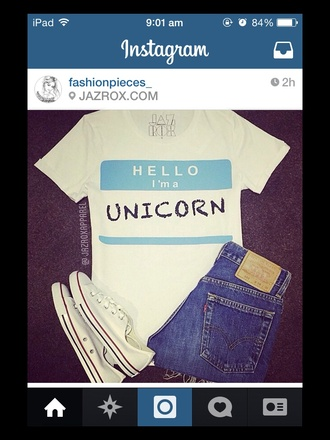 unicorn white shirt hello i'm unicorn. unicorn shirt