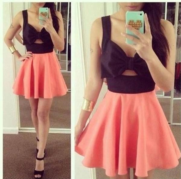 dress skirt pink and black dress