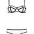 Kendra Lolli Neoprene Corset Outline Bustier Bikini - White and Black