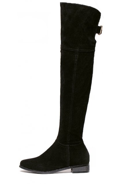 Velvet Suede Leather Over Knee Point Head Long Boots Shoes