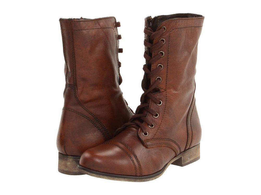Shoes Steve Madden Troopa Leather Lace Up Combat Boots Brown *New*