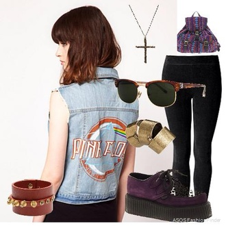 jacket shoes glasses platform shoes cross pink floyd hipster