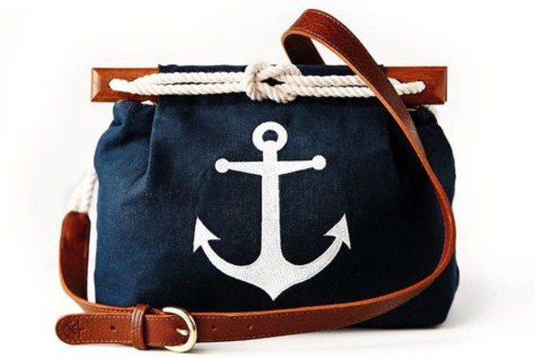 bag preppy deep blue anchor