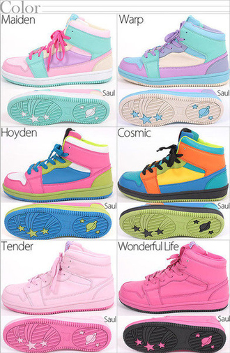shoes pink blue pastel pastel pink pastel purple purple lavender turquoise hot pink green orange black white yellow sneakers high top sneakers kawaii fairy kei streetwear japanese fashion space stars asian fashion asian style korean fashion korean style japanese street fashion lolita lolita fashion cute cute shoes girly dope pastel sneakers