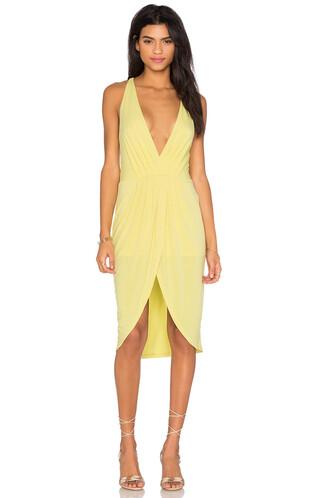 dress mini dress mini slit v neck black yellow