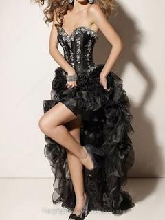 Line sweetheart organza satin asymmetrical flower(s) party dresses