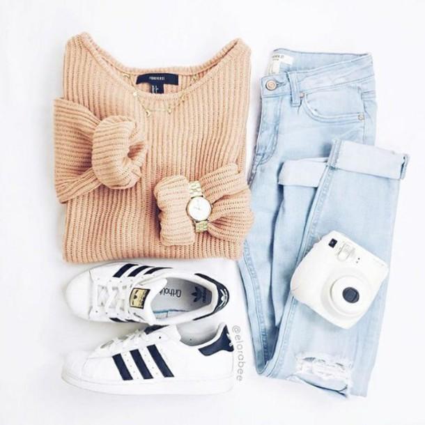 sweater pull orange jeans watch adidas shirt