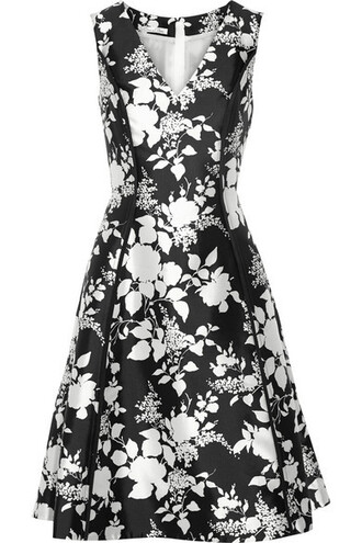 dress floral cotton print black silk