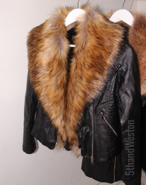 Jacket: faux fur biker jacket, faux furjacket, fur jacket, black ...