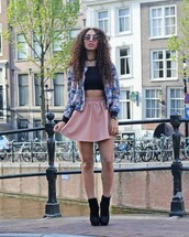 from hats to heels,blogger,jacket,top,skirt,shoes,sunglasses,hat,dusty pink