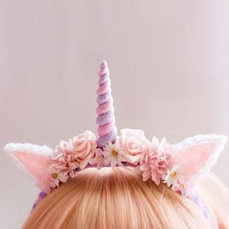 hair accessory unicorn headdress unicorn pastel sparkle kawaii flowers leaves headband ears