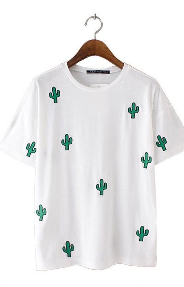 shirt cactus shirt cactus top cactus white t-shirt