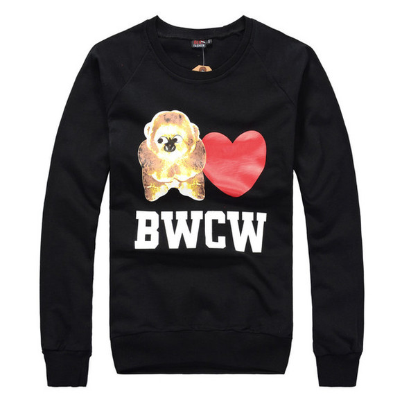 black pullover letters long sleeves o neck bear pringting bwcw regular size heart cotton hoodie sweatsuit