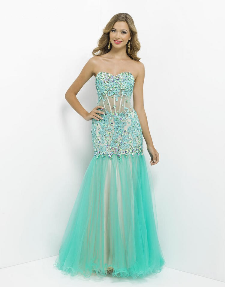 Sweetheart Floor Length Green Tulle Trumpet Mermaid Prom Dress Obp0097