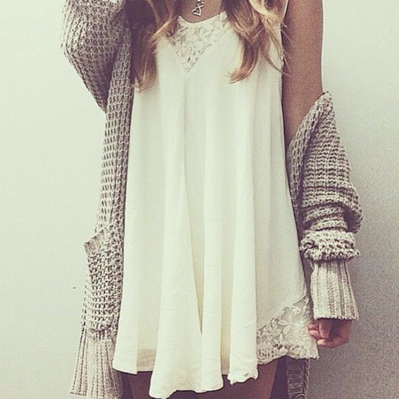 boho white lace dress white dress slip dress cream solid color