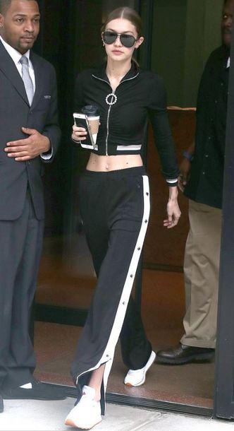 pants sneakers jacket gigi hadid model off-duty streetstyle top