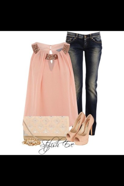 blouse pink jeans denim bag shoes
