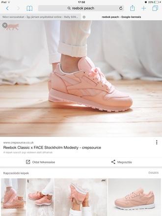 shoes reebok sneakers nude pastel