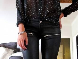 jeans zip black jeans leather pants leather blouse zipped pants