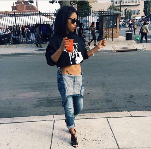overalls jeans blouse heels crop tops t-shirt