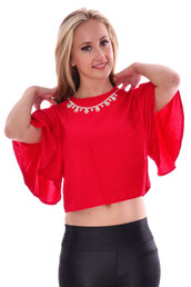 top,red,ladies,necklace,flare,popcouture,crop tops