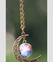 jewels,galaxy necklace,necklace,moon,half moon,moon necklace