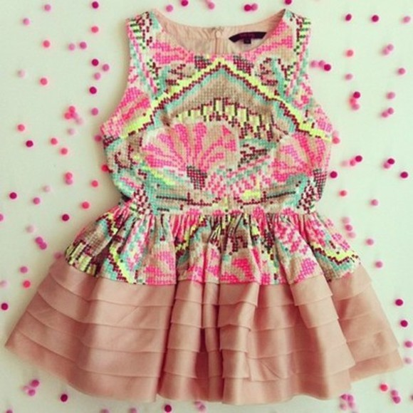 dress embroidered pink clothes ruffles yellow