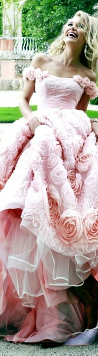 dress blush pink floral embellishment off the shoulder sweetheart neckline