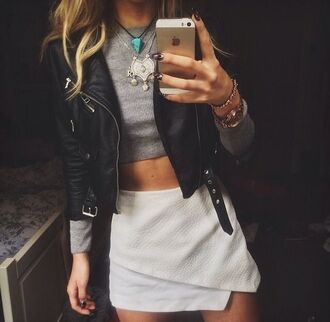 jacket leather jacket crop tops long sleeves white white skirt high waisted skirt black skorts