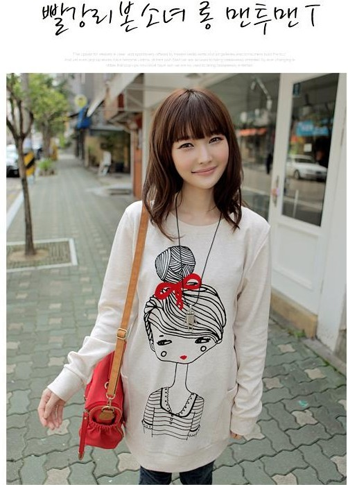Maternity dresses-Korean version of cute little girls printed casual women shirt - www.9channel.com - TaoBaoProduct