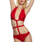 Red charming ladies wrap halter cut out monokini