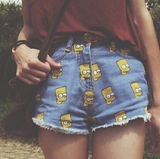 shorts cute hipster the simpsons high waisted