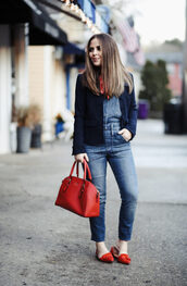dress corilynn,blogger,shirt,jacket,shoes,bag,handbag,red bag,blazer,fall outfits,flats,red shoes