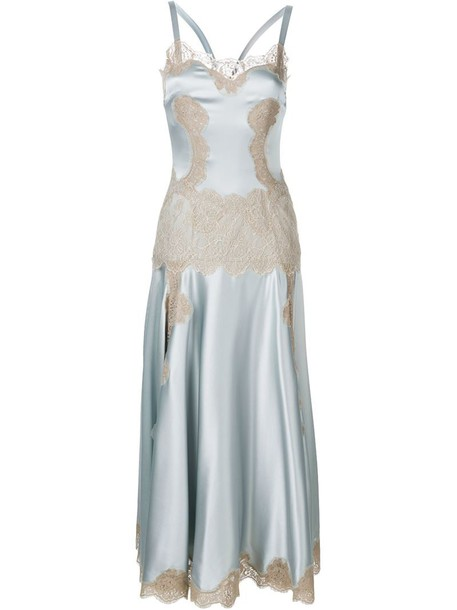 Dolce & Gabbana dress women spandex lace cotton silk grey