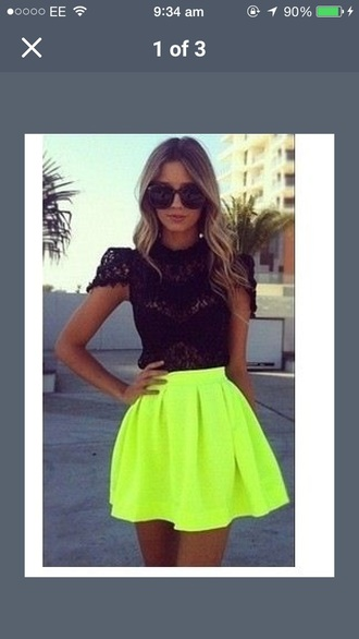 skirt style skater skirt neon neon skirt yellow summer summer outfits top classy outfit fashion lovely jacket blouse