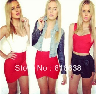 tank top jacket skirt red red skirt