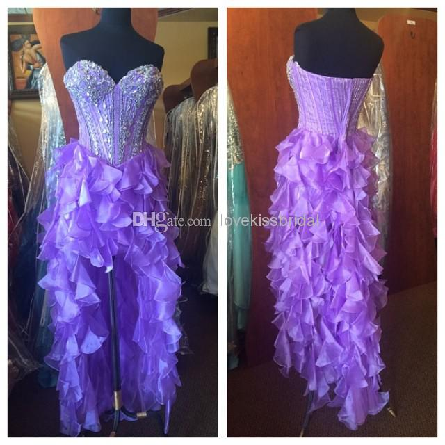Discount 2014 New Sexy Sweetheart Hi-Lo Homecoming Dresses with Cascading Ruffles Beading Sequins Party Prom Gown Graduation Dress Custom Made Online with $115.19/Piece | DHgate