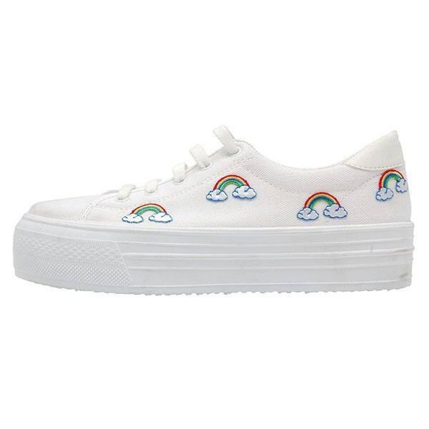 shoes platform shoes rainbow white white sneakers trainers