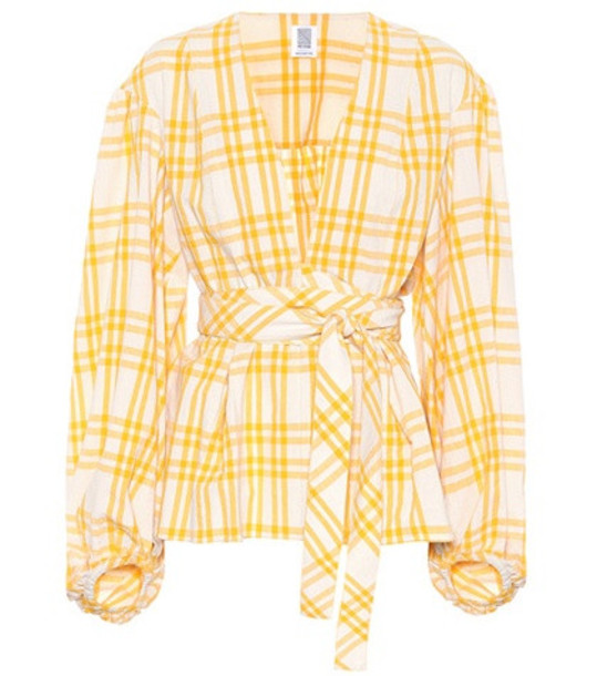 Rosie Assoulin The Ties That Bind Us plaid top in yellow