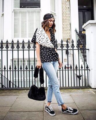 shoes hat trainers sneakers vans denim jeans bag black bag top polka dots