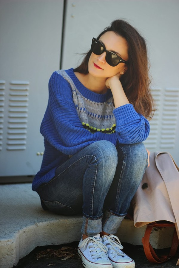 frankie hearts fashion coat sweater jeans shoes bag sunglasses