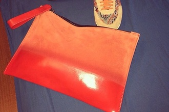 bag pouch pochette leather bag suede bag leather pouch suede coral corail